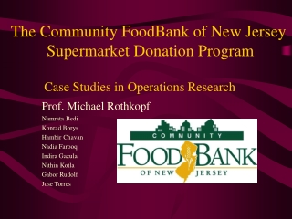 The Community FoodBank of New Jersey  Supermarket Donation Program