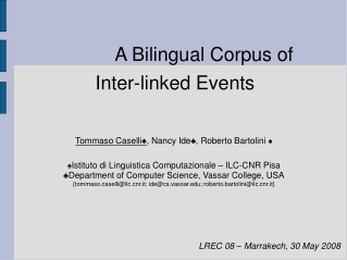 A Bilingual Corpus of            Inter-linked Events
