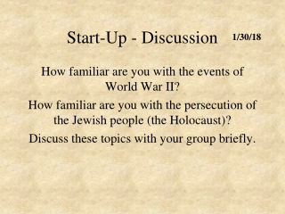 Start-Up - Discussion