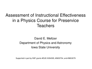 Assessment of Instructional Effectiveness in a Physics Course for Preservice Teachers