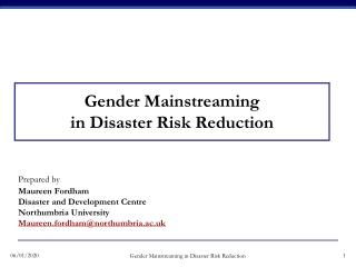 Gender Mainstreaming in Disaster Risk Reduction