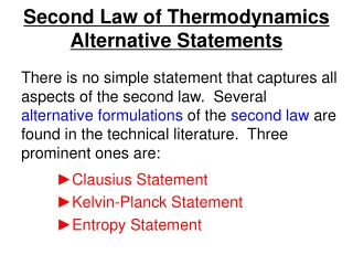 Second Law of Thermodynamics Alternative Statements