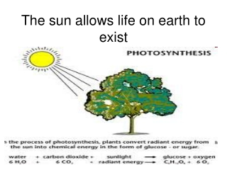 The sun allows life on earth to exist