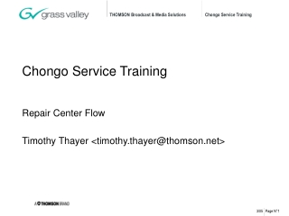 Chongo Service Training