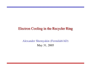 Electron Cooling in the Recycler Ring