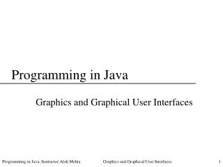 Programming in Java