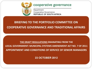 Purpose of Presentation  Background Progress made on the Regulations Stakeholders consulted