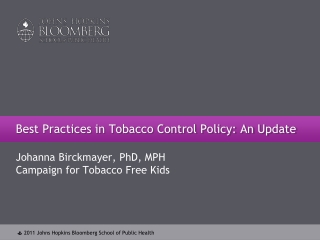Best Practices in Tobacco Control Policy: An Update
