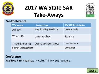 2017 WA State SAR  Take-Aways
