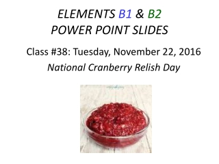 ELEMENTS  B1  &  B2  POWER POINT SLIDES