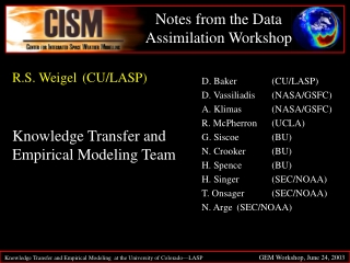 Notes from the Data Assimilation Workshop