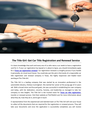 The Title Girl: Get Car Title Registration and Renewal Service