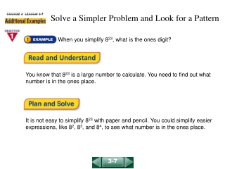 Solve a Simpler Problem and Look for a Pattern