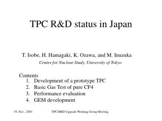 TPC R&D status in Japan