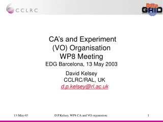 CA's and Experiment (VO) Organisation WP8 Meeting EDG Barcelona, 13 May 2003