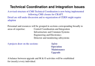 Technical Coordination and Integration Issues