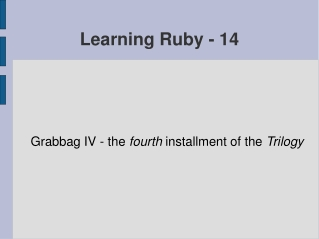 Learning Ruby - 14