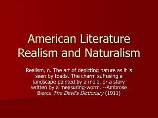American Literature Realism and Naturalism