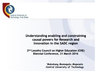 'Mabokang Monnapula-Mapesela Central University of Technology