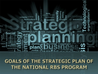 Goals of the Strategic Plan of the National RBS Program