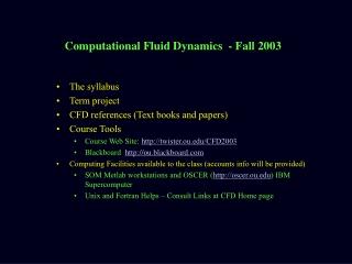 Computational Fluid Dynamics  - Fall 2003