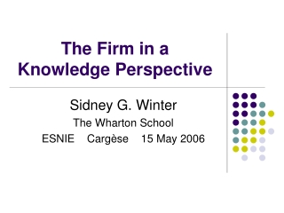 The Firm in a Knowledge Perspective