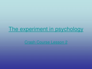 The experiment in psychology