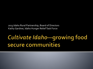 Cultivate Idaho —growing food secure communities