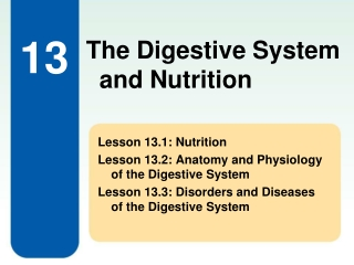 Lesson 13.1: Nutrition Lesson 13.2: Anatomy and Physiology of the Digestive System
