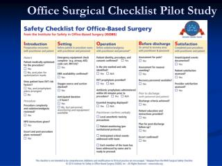 Office Surgical Checklist Pilot Study
