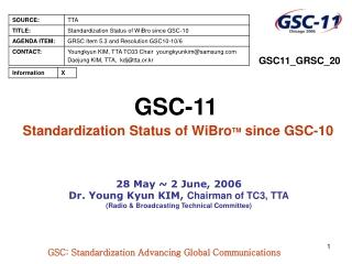 GSC-11 Standardization Status of WiBro TM  since GSC-10