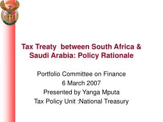 Tax Treaty  between South Africa & Saudi Arabia: Policy Rationale