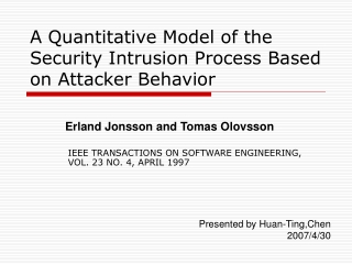 A Quantitative Model of the Security Intrusion Process Based on Attacker Behavior