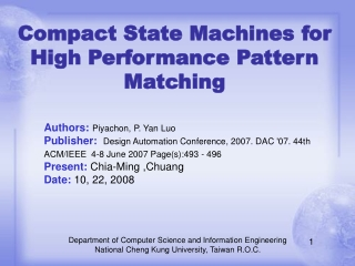 Compact State Machines for High Performance Pattern Matching