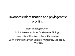 Taxonomic identification and phylogenetic profiling