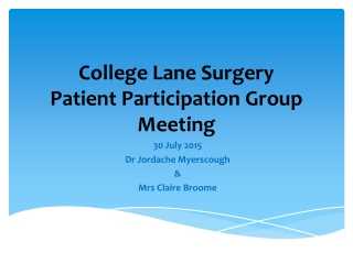 College Lane Surgery Patient Participation Group Meeting