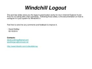 Windchill Logout