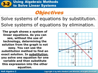 Solve systems of equations by substitution.  Solve systems of equations by elimination.