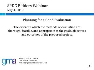 SPDG Bidders Webinar May 4, 2010
