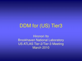 DDM for (US) Tier3