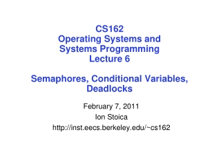 February 7, 2011 Ion Stoica inst.eecs.berkeley/~cs162
