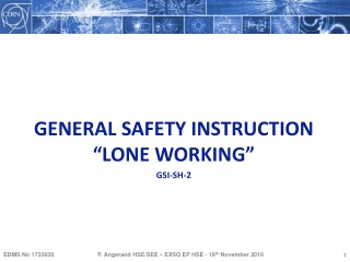 "GENERAL SAFETY INSTRUCTION ""LONE WORKING"" GSI-SH-2"