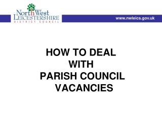 HOW TO DEAL  WITH  PARISH COUNCIL VACANCIES