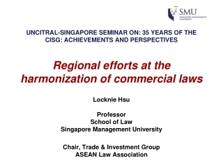 Locknie Hsu Professor School of Law Singapore Management University