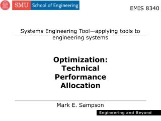 Optimization: Technical Performance Allocation