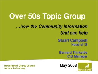 Over 50s Topic Group
