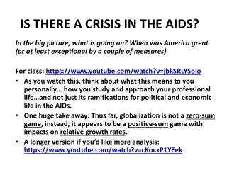 IS THERE A CRISIS IN THE AIDS?