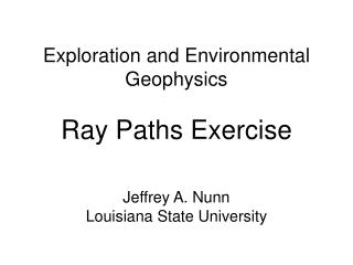 Exploration and Environmental Geophysics
