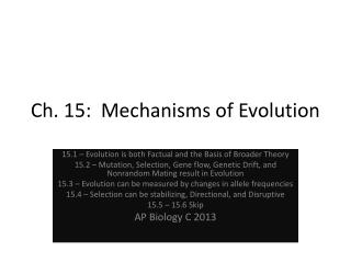 Ch. 15:  Mechanisms of Evolution