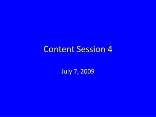 Content Session 4